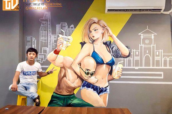 Mẫu vẽ tranh tường trang trí quán cà phê