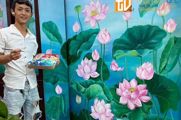 Vẽ tranh tường hoa sen đẹp giá rẻ