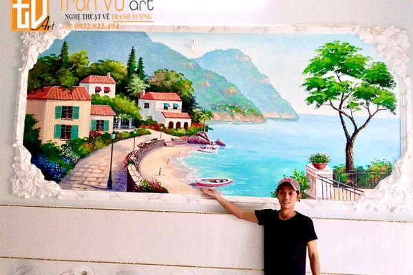 Vẽ tranh tường phong cảnh giá rẻ tại hcm